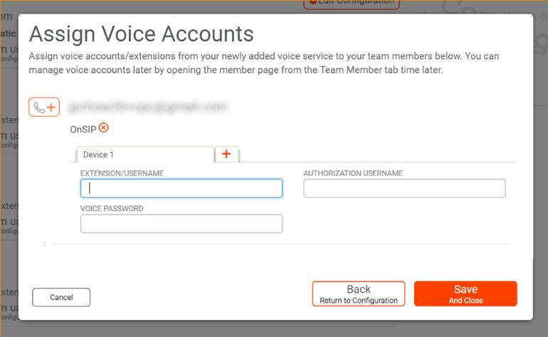 You can assign voice accounts from your newly added voice service