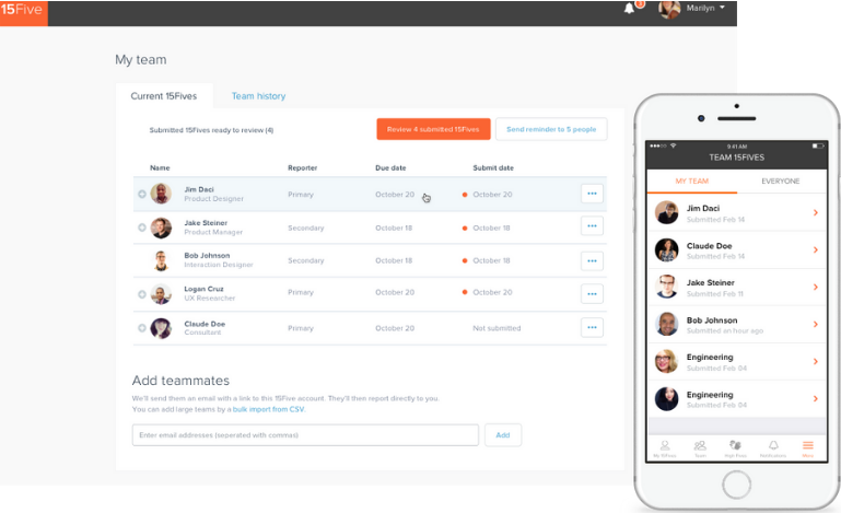 15Five allows efficient performance management review for your SMB