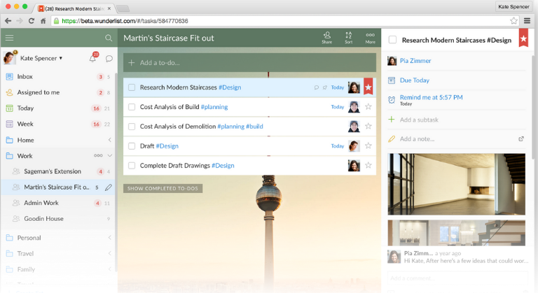 Wunderlist makes to do listing easy