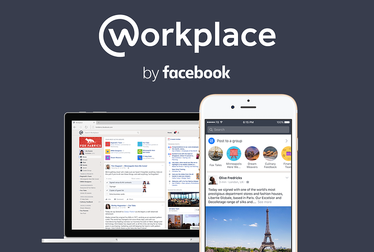 Workplace by Facebook offers all the team collaboration tools.